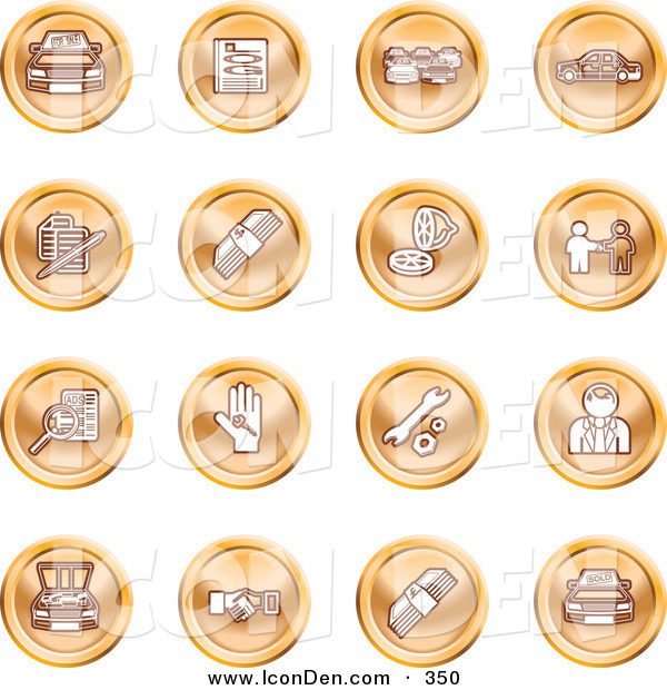 Clip Art of a Collection of Sixteen Orange Icons of Cars, a Log, Cash, Lemon, Dealer, Ads, Key, Wrench, Engine, Handshake and Money