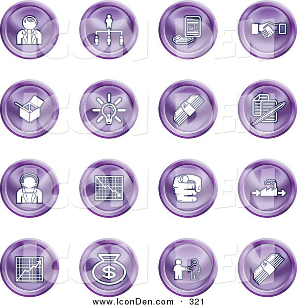 Clip Art of a Collection of Sixteen Purple Business Icons of Business People, Management, Hand Shake, Lightbulb, Cash, Charts, and Money Bags