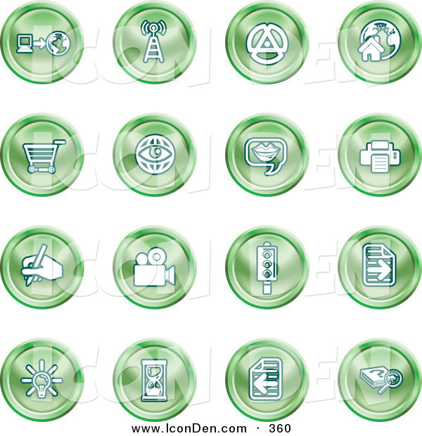 Clip Art of a Collection of Sixteen Purple Icons of a Communications Tower, Www, Home Page, Shopping Cart, Messenger, Printer, Camera, Street Light, Lightbulb, Hourglass and Search on White