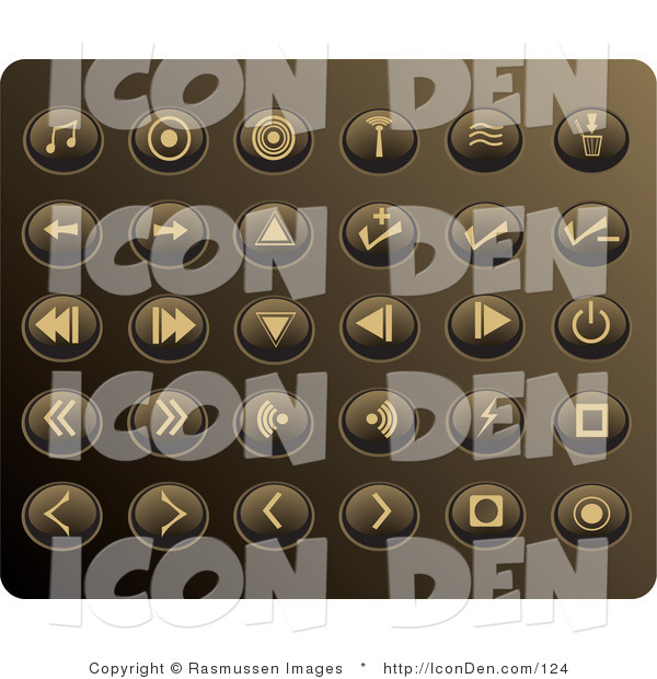 Clip Art of a Collection of Thirty Beige Media Utton Icons on a Gold Background