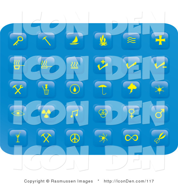 Clip Art of a Collection of Thirty Miscellaneous Yellow Button Icons on a Blue Background