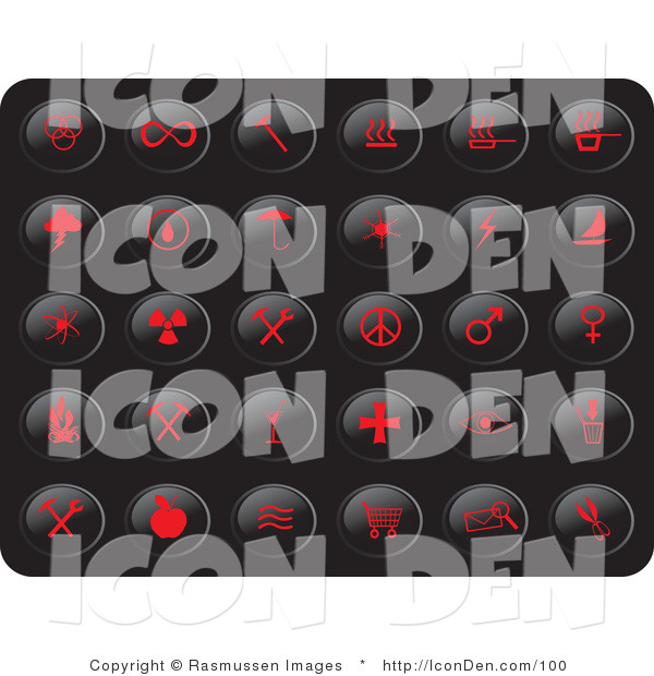 Clip Art of a Collection of Thirty Red Misc Button Icons on a Black Background