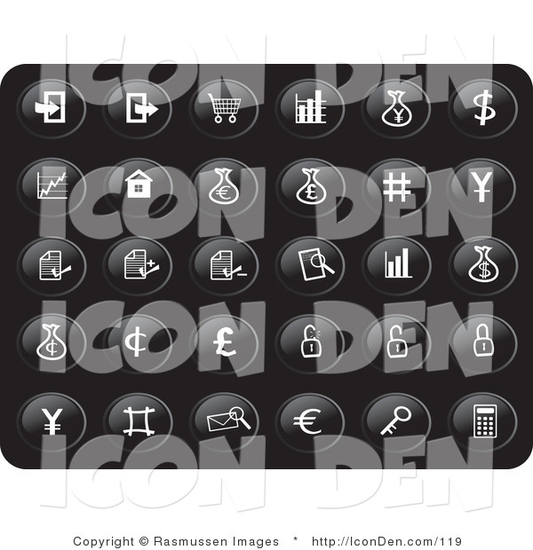 Clip Art of a Collection of Thirty Small White Financial Icons on a Black Background