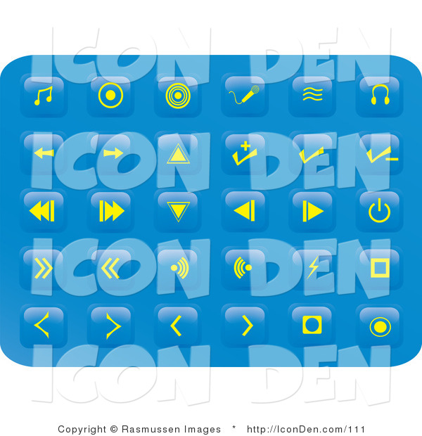 Clip Art of a Collection of Thirty Small Yellow Media Button Icons on a Blue Background