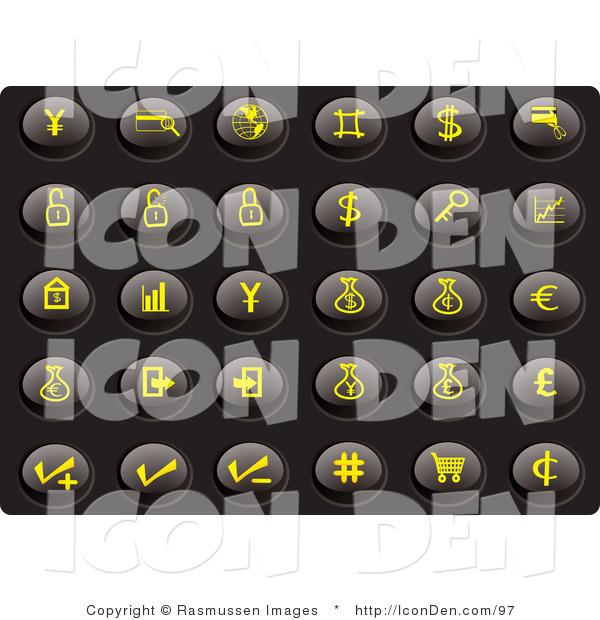 Clip Art of a Collection of Thirty Yellow Finance Icons on a Black Background