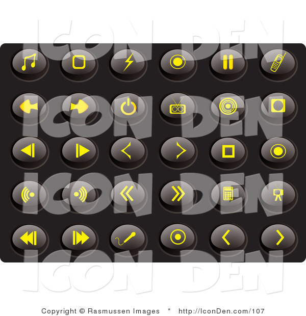 Clip Art of a Collection of Thirty Yellow Media Icons on a Solid Black Background