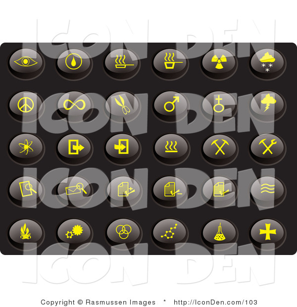 Clip Art of a Collection of Thirty Yellow Misc Icons on a Black Background