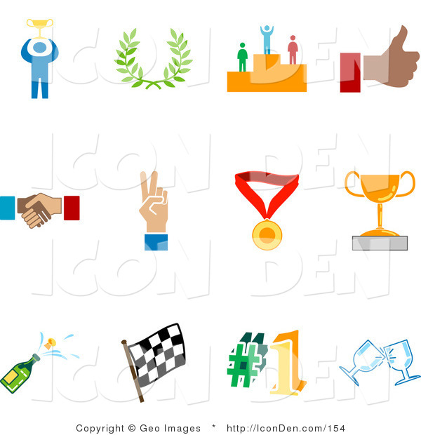 Clip Art of a Collection of Twelve Colorful Competition Icons