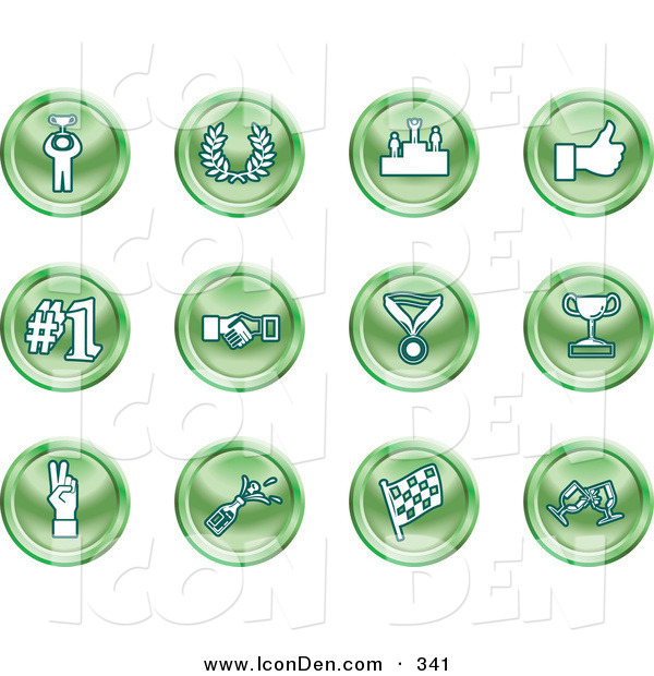 Clip Art of a Collection of Twelve Green Icons of a Winner, Laurel, Victory, Thumbs Up, Number 1, Handshake, Medal, Trophy, Champagne, Racing Flag and Wine