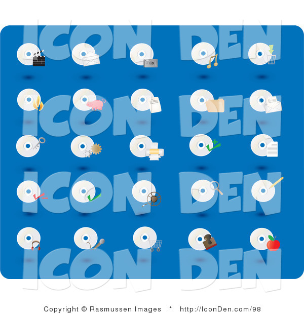 Clip Art of a Collection of Twenty-Five CD and Disc Icons on a Blue Background