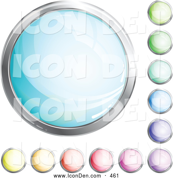 Clip Art of a Collection of Various Shiny Blue, Green, Purple, Pink, Red, Orange and Yellow Internet Buttons
