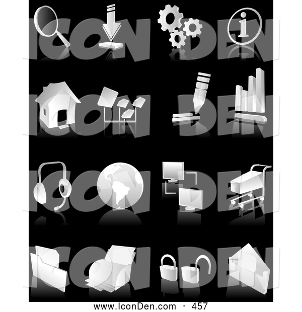 Clip Art of a Collection of White and Gray Search, Download, Information, Home Page, Music, Connectivity, Shopping, Printing, Security, Business Graph and Email Web and Computer Icons over Black