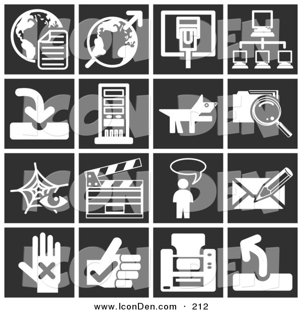 Clip Art of a Collection of White Commerce Icons over a Black Background