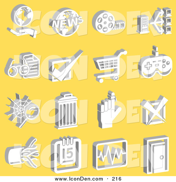 Clip Art of a Collection of White Media Icons on a Yellow Background