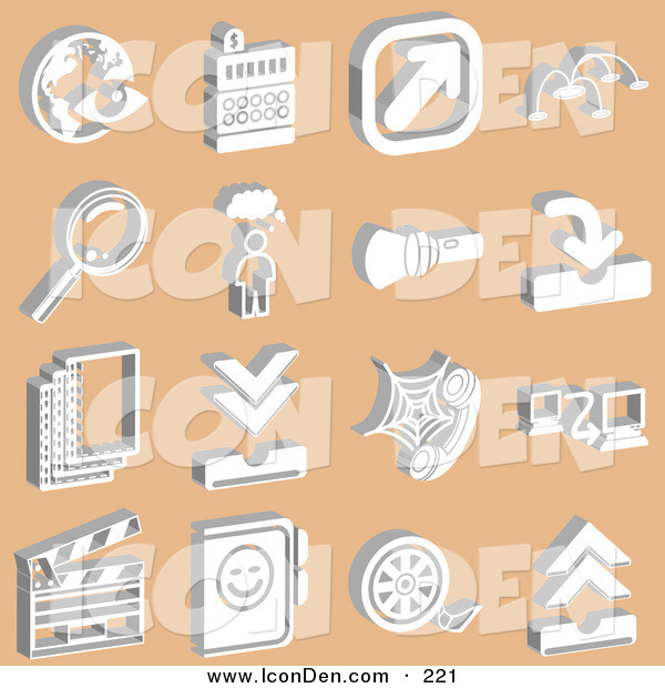 Clip Art of a Collection of White Media Icons on Tan