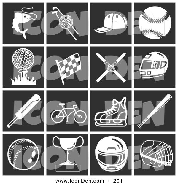 Clip Art of a Collection of White Sports and Athletic Icons over a Black Background
