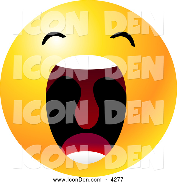 Clip Art of a Cute Yellow Emoticon Face with His Mouth Wide Open Showing His Uvula, Symbolizing Frustration and Annoyance