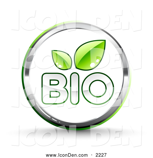 Clip Art of a Eco Friendly Shiny White Bio Website Button with Two Green Leaves and Chrome Trim