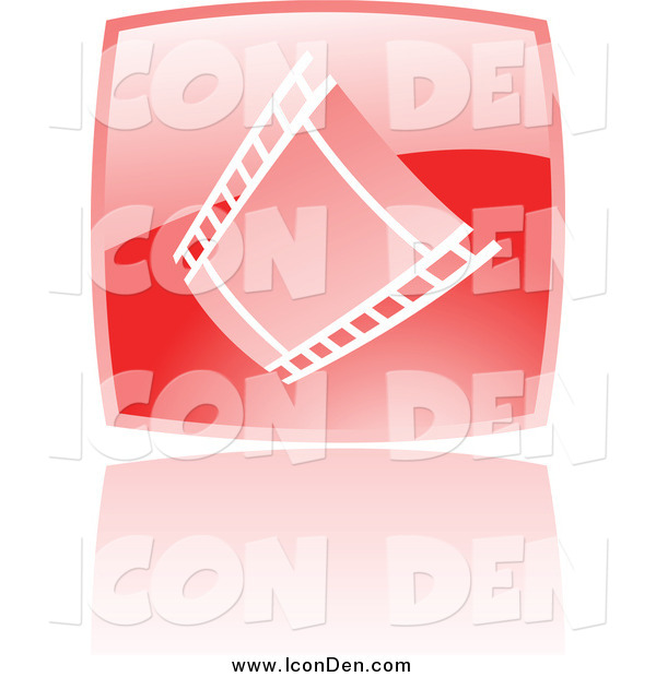 Clip Art of a Glossy Red Square Film Strip Movie Icon