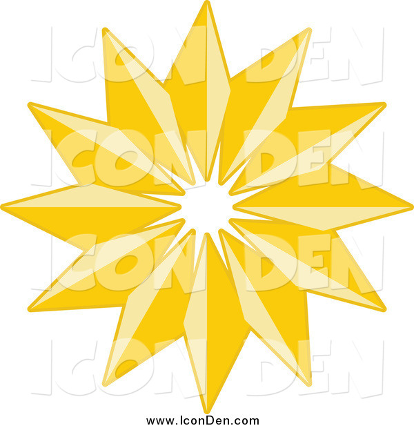 Clip Art of a Golden Christmas Star Icon