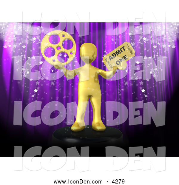 Clip Art of a Golden Man with a Film Wheel and Ticket in Front of a Purple Theater Curtain with Confetti
