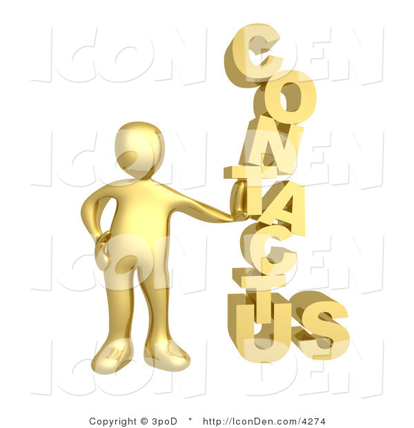 "Clip Art of a Golden Person Leaning Against a Stacked ""Contact Us"" Icon for a Website Contact Form"