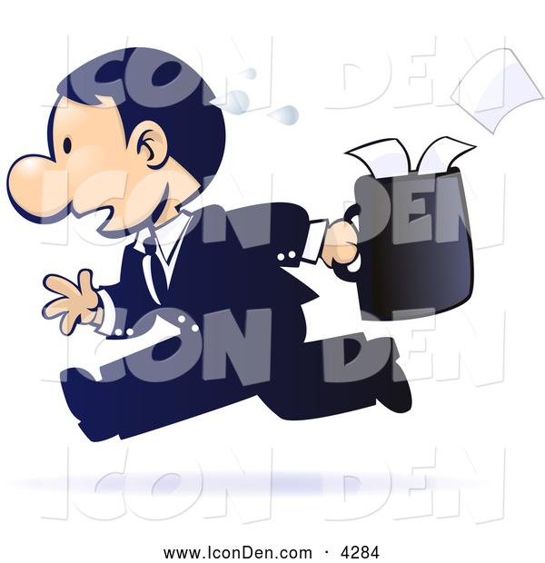 Clip Art of a Gradient Blue, Sweaty, Stressed out White Businessman Running with Papers Spilling out of His Briefcase Behind Him