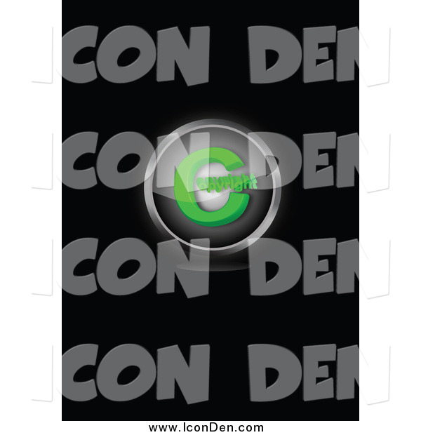 Clip Art of a Green Copyright Symbol Icon on Black