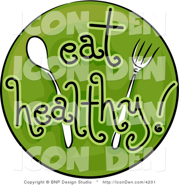 Clip Art of a Green Eat Healthy Icon