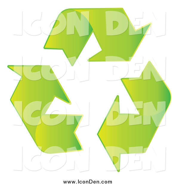 Clip Art of a Green Recycle Arrow Icon