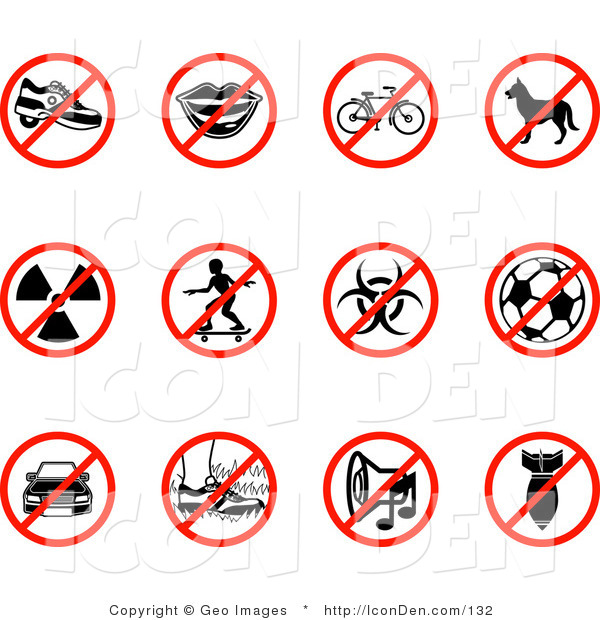 Clip Art of a Group Collection of Twelve Red Restriction Icons Showing Heelies Shoes, Talking, Bicycle, Dog, Waste, Skateboarding, Biohazard, Soccer, Parking, Walking on Grass, Noise, and a Bomb