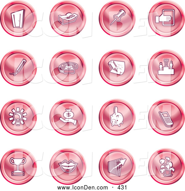 Clip Art of a Group of 16 Red Business Icons