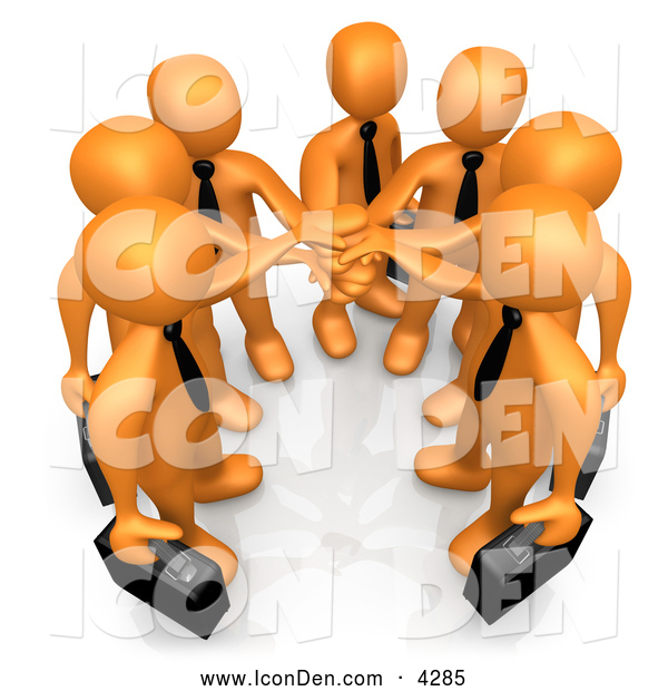 Clip Art of a Group of 7 Orange Businessmen Carrying Briefcases and Standing with Their Hands Together, Symbolizing Teamwork