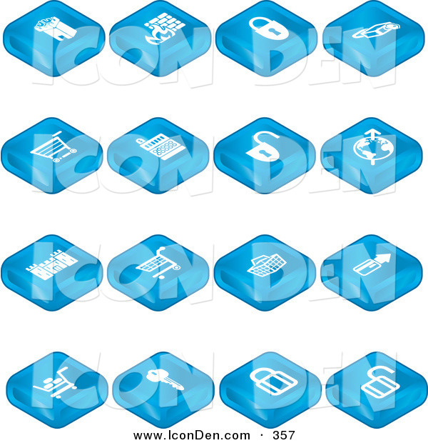Clip Art of a Group of Blue Secure Shopping Tablet Icons of a Fortress, Brick Wall, Padlocks, Shopping Carts, Credit Card, and Key