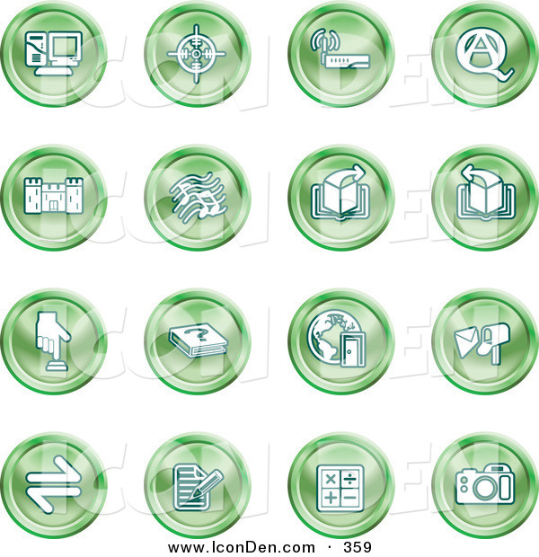 Clip Art of a Group of Green Icons of a Computer, Viewfinder, Wireless, Questions and Answer, Castle, Music, Forward, Back, Www, Mail, Math and Camera