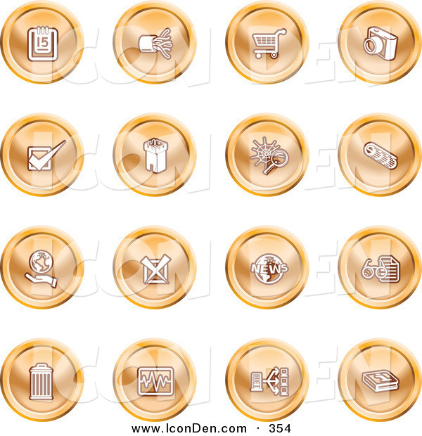 Clip Art of a Group of Orange Icons of a Calendar, Cables, Shopping Cart, Camera, Check Mark, Fortress, News, Trash Can, Chart, Networking and Information