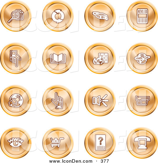 Clip Art of a Group of Orange Icons of Security Symbols on a White Background