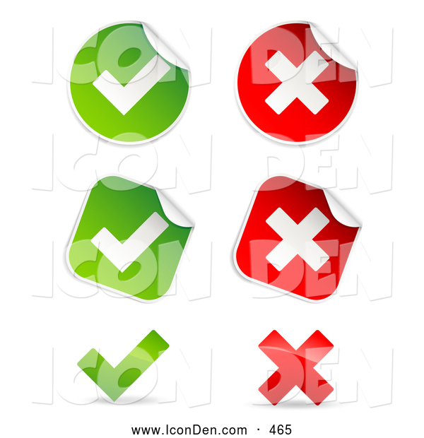 Clip Art of a Group of Peeling Square and Circle Green and Red Check Mark and X Mark Stickers