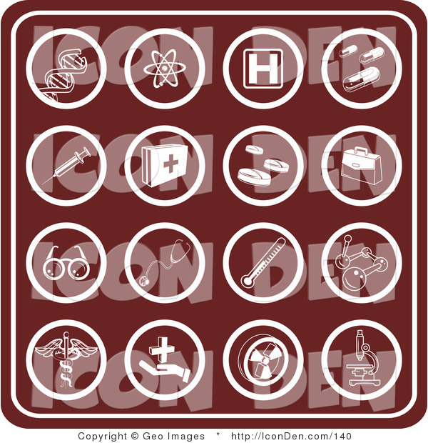 Clip Art of a Group of Sixteen Round and Red Medical Icons Including Dna, Molecules, Hospital Signs, Pills, Syringes, First Aid Kids, Rx, Doctor Bag, Glasses, Stethoscopes, Thermometers, and Microscopes