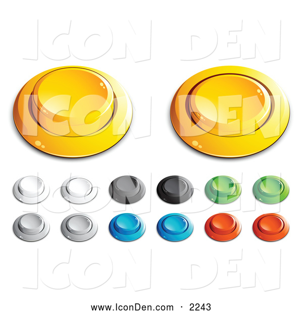 Clip Art of a Group of Yellow, White, Black, Green, Blue and Red Push Buttons for a Game or Web Design Element