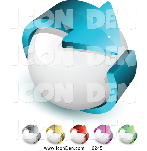 Clip Art of a Large Blue Arrow Circling a White Orb, Symbolizing Recycling and Ecology
