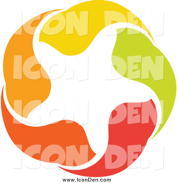 Clip Art of a Orange, Green, Red and Yellow Star Icon