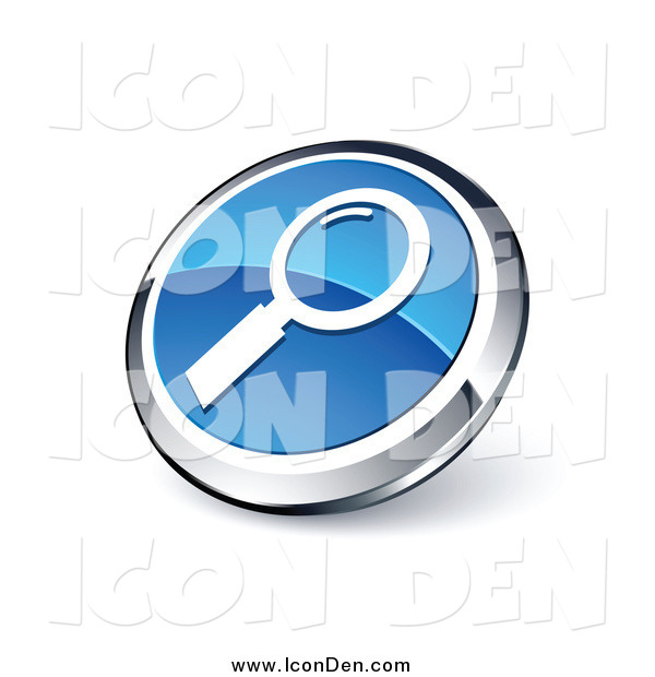 Clip Art of a Round Blue and Chrome Magnifying Glass Search Icon