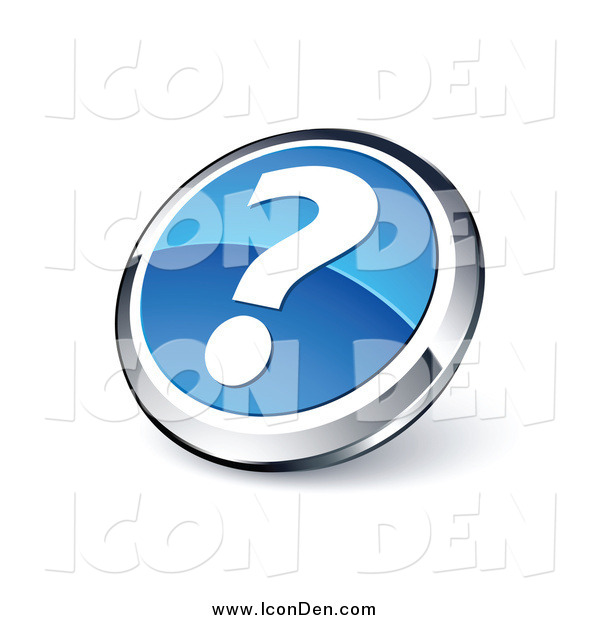 Clip Art of a Round Blue and Chrome Question Mark Button