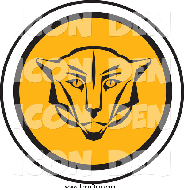 Clip Art of a Round Cougar Head Icon