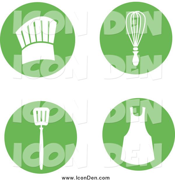 Clip Art of a Round Green Icons with Cooking Items