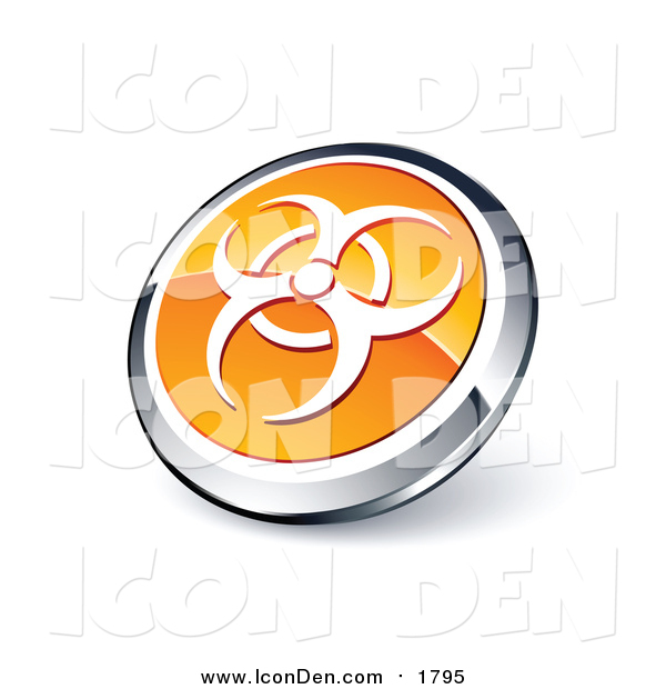 Clip Art of a Round Orange and Chrome Bio Hazard Icon Button