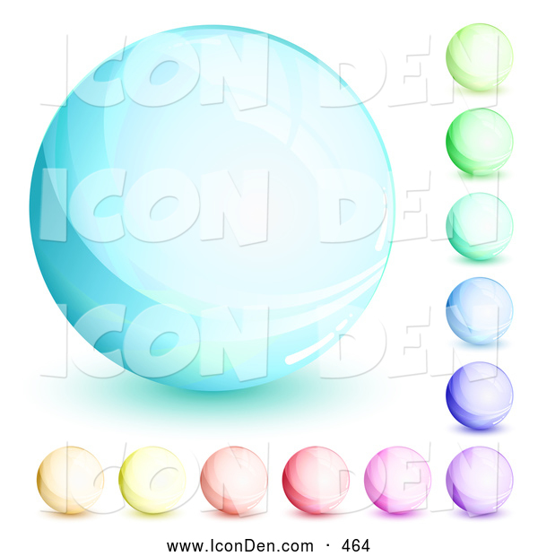 Clip Art of a Round Orb Set of Blue, Green, Purple, Red, Pink and Yellow Circles
