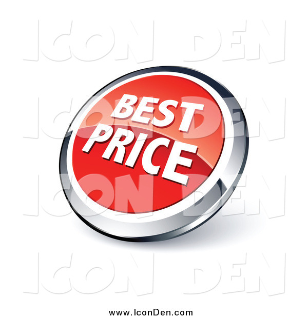 Clip Art of a Round Red and Chrome Best Price Icon