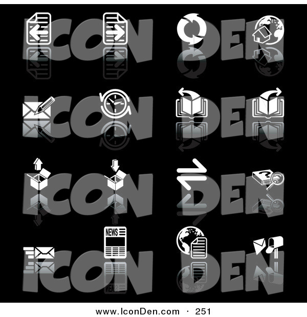 Clip Art of a Set of 16 Black and White Browser Icons of Refresh Arrows, Home Page, Email, Compass, Page, Download, Upload, Search, and News Pics on a Black Background